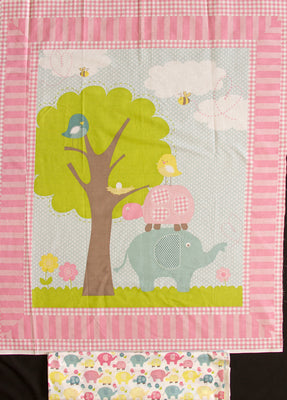 Elephant 100% Cotton Baby Panel & Coordinating Elephant/Turtle Backing Fabric