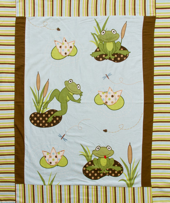 Frog Pads Appliqued Embroidered Flannel Panel Fabric - 8 Yard Bolt