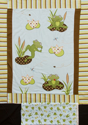Frog Pads Appliqued Embroidered Flannel Panel & Coordinating Frog Toss Backing Fabric