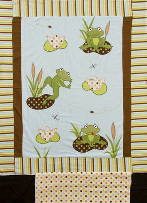 Frog Pads Appliqued Embroidered Flannel Panel & Coordinating Dot Backing Fabric
