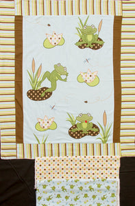 Frog Pads Appliqued Embroidered Flannel Panel & Frog Dots & Toss Backing Fabric
