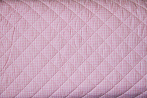 Pre-Quilted Pink Gingham 100% Cotton Fabric- 10 Yards