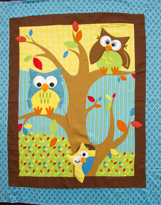 Bright Owl Embroidered Flannel Baby Panel Fabric