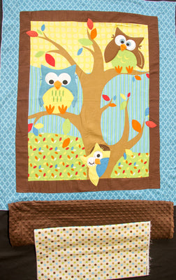 Bright Owl Embroidered Flannel Baby Panel & Coordinating Flannel Dot & Minky Dot Fabric
