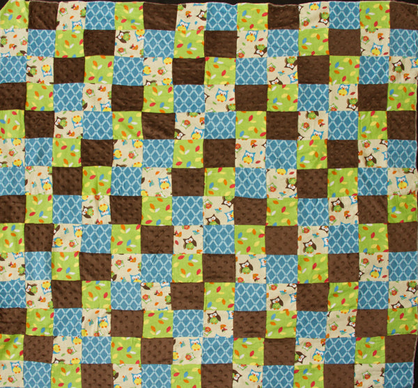 Bright Owl Patchwork Flannel Children's Quilt Top Fabric
