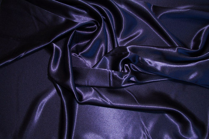 Navy Crepe Back Satin - WHOLESALE FABRIC - 15 Yard Bolt