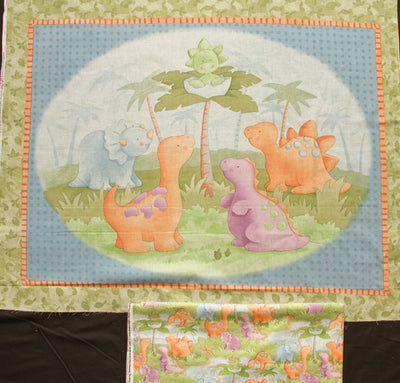 Dinosaur 100% Cotton Baby Panel & Coordinating Cute A Saurus Backing Fabric