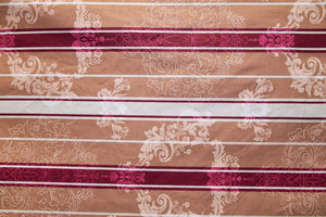 "91"" Medallion Stripe Burgundy EXTRA WIDE Percale Sheeting Fabric"