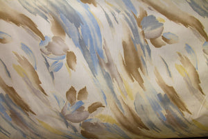 "102"" Blue & Tan Watercolor EXTRA WIDE Percale Sheeting Fabric"