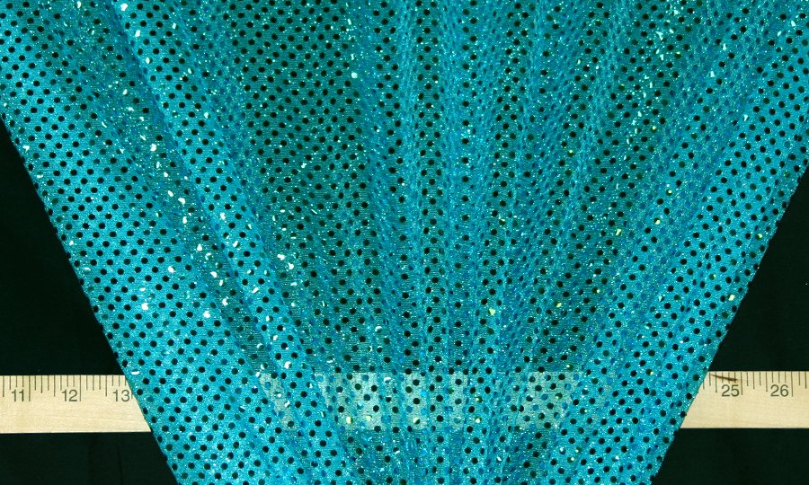 Turquoise Dot Sequin Knit - WHOLESALE FABRIC - 12 Yard Bolt