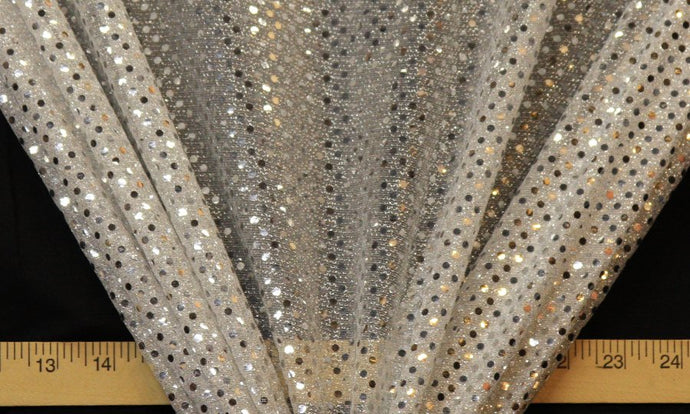 Silver Dot Sequin Knit - WHOLESALE FABRIC - 12 Yard Bolt