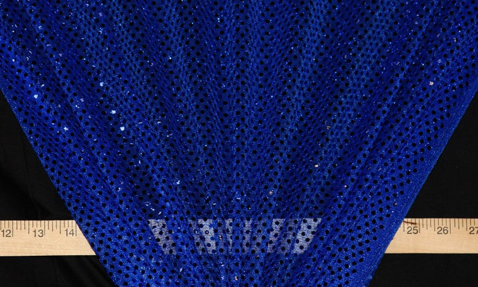 Royal Blue Dot Sequin Knit-WHOLESALE FABRIC- 12 Yard Bolt