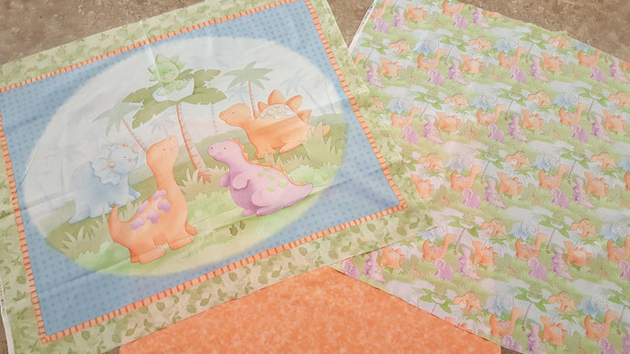 Dinosaur Baby Panel / Cute A Saurus All Over Print & Coordinating Peach Backing Fabric Kit
