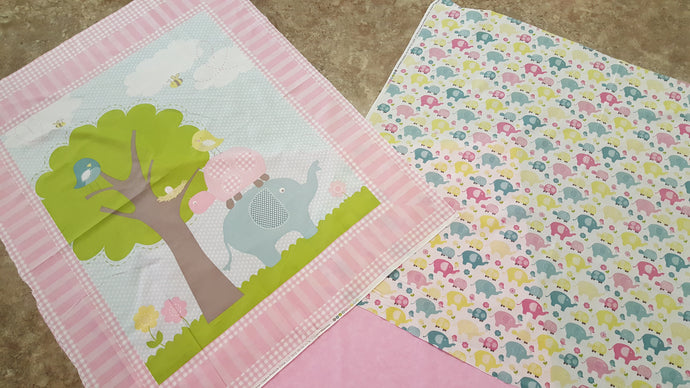 Elephant Baby Panel / Elephant Turtle All Over Print & Coordinating Pink Backing Fabric Kit