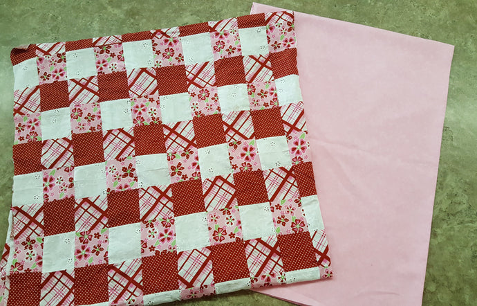Red & Pink Patchwork & Coordinating Pink Backing Fabric Kit