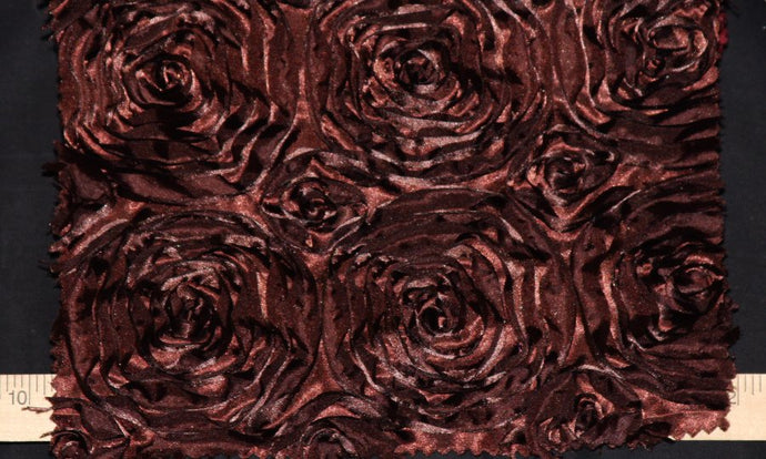 Chocolate Brown Rosette Taffeta Fabric