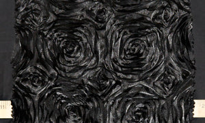 Black Rosette Taffeta Fabric