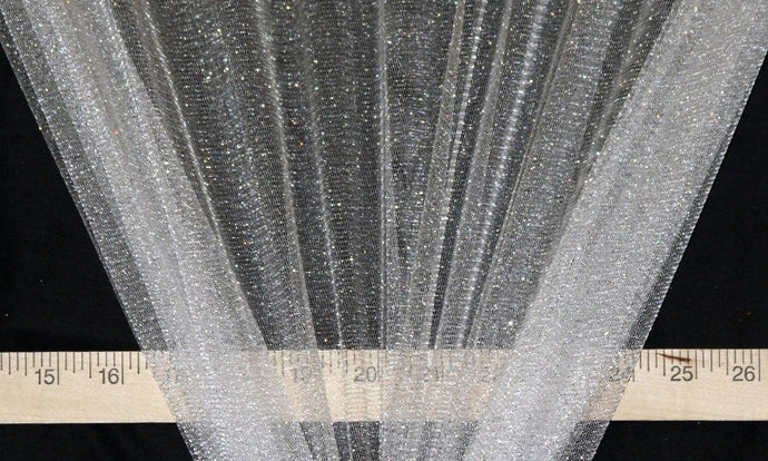 White Sparkle Glitter Tulle - WHOLESALE FABRIC - 15 Yard Bolt