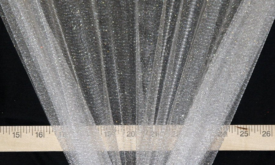 White Sparkle Glitter Tulle-WHOLESALE FABRIC - 15 Yard Bolt