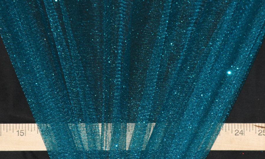 Teal Sparkle Glitter Tulle Fabric
