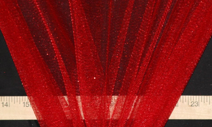 Red Sparkle Glitter Tulle - WHOLESALE FABRIC - 15 Yard Bolt
