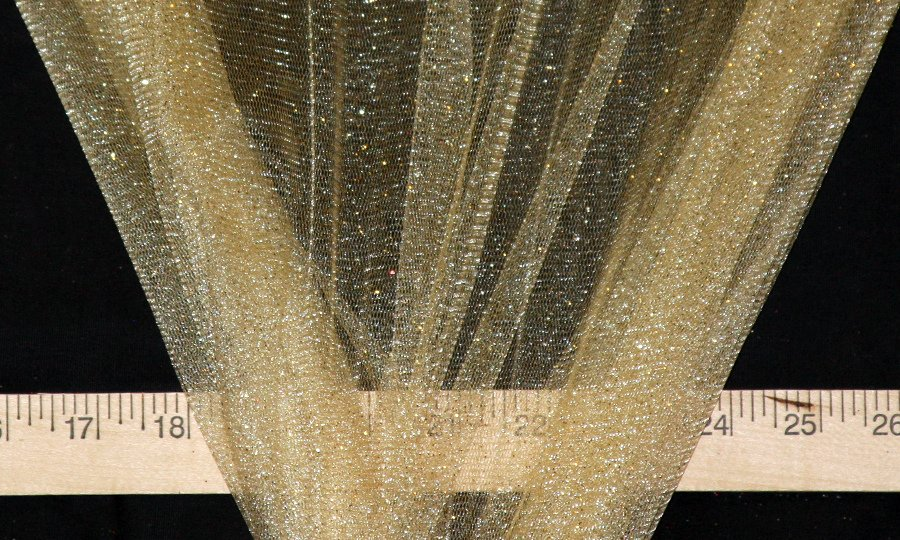 Gold Sparkle Glitter Tulle - WHOLESALE FABRIC - 15 Yard Bolt