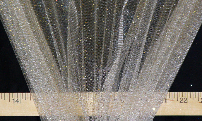 Ivory Sparkle Glitter Tulle - WHOLESALE FABRIC - 15 Yard Bolt