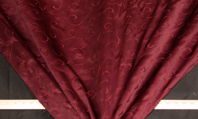 Wine Embroidered Suede Fabric