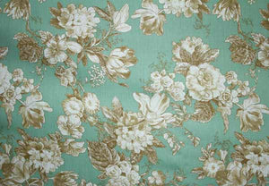 "102"" Light Green Floral EXTRA WIDE Percale Sheeting Fabric"