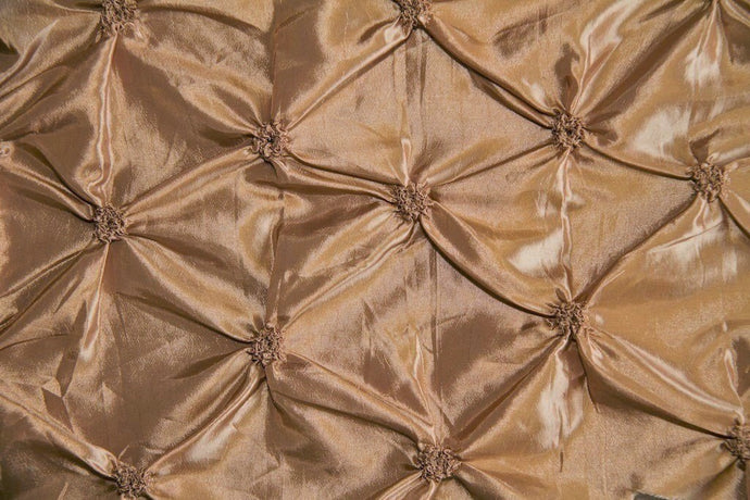 Antique Gold Button Tuck Taffeta Fabric