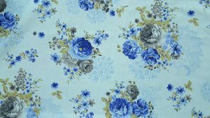 "102"" Blue Rose Floral EXTRA WIDE Percale Sheeting Fabric"