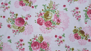"102"" Pink Rose Floral EXTRA WIDE Percale Sheeting Fabric"