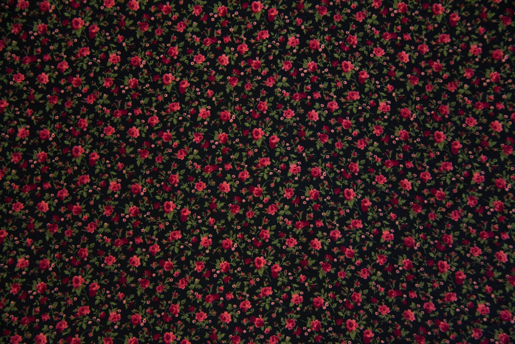Burgundy, Rose & Black Floral Koshibo Fabric