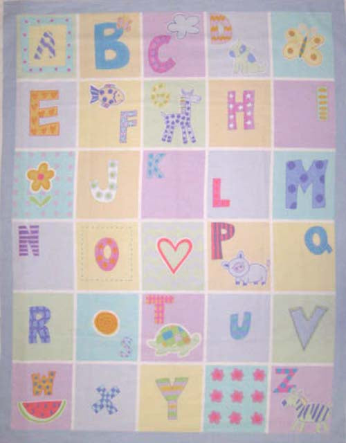 Alphabet Pastels Poly/Cotton Baby Panel Fabric