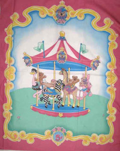 Carousel 100% Cotton Baby Panel Fabric
