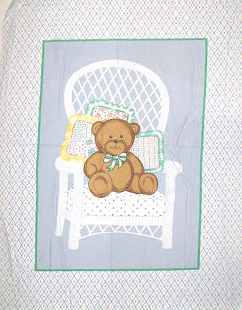 Teddy In Chair 100% Cotton Baby Panel Fabric