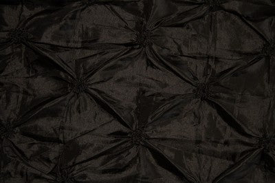 Black Button Tuck Taffeta Fabric
