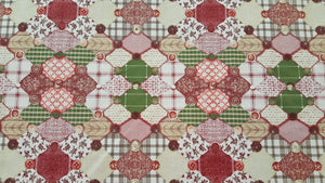 "90"" Button Bordeaux Cheater's Quilt Fabric"