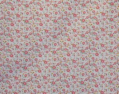 Pink Floral on White Corduroy