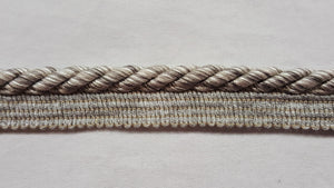 "3/8"" Taupe & Silver Decorative Cord With Lip"