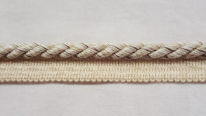 "3/8"" Taupe & Oatmeal Decorative Cord With Lip"