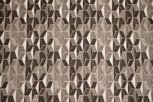"56"" Black, Grey, Taupe & Ivory Geometric Drapery Fabric - SALE FABRIC- 5 Yards"