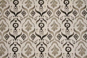"56"" Black, Grey & Taupe Ornamental Drapery Fabric - SALE FABRIC - 5 Yards"