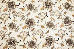 "54"" Cream, Honey, Black & Grey Floral Drapery Fabric - SALE FABRIC - 5 Yards"