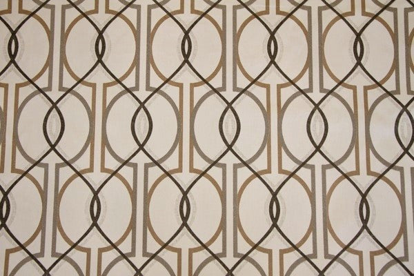 Discount Fabric DRAPERY Black, Gray & Taupe Trellis