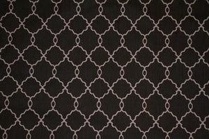 Discount Fabric DRAPERY Black & Gray Moroccan Design