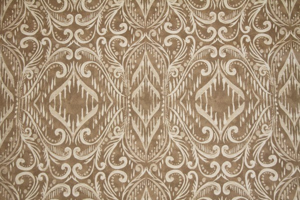 Discount Fabric DRAPERY Taupe Ornamental Scroll Design