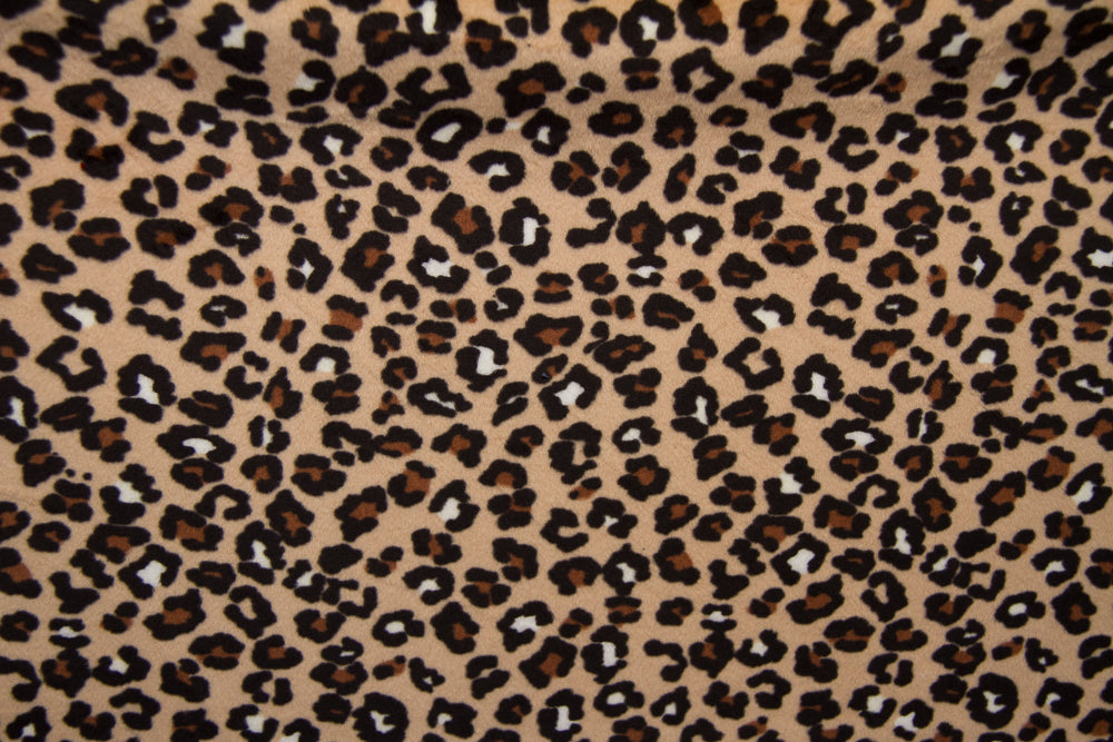 Minky Fabric--Spotted Camel & Black
