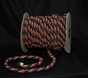 "1/2"" Navy, Tan & Rust Decorative Cording - 5 Yards"