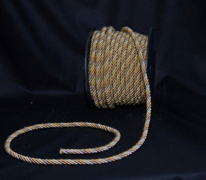 "1/4"" Taupe & Gold Decorative Cording - 5 Yards"